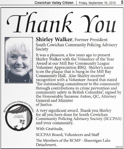 thank you Shirley Walker President