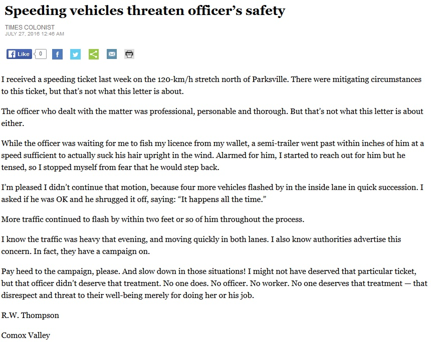 speed officers safety article