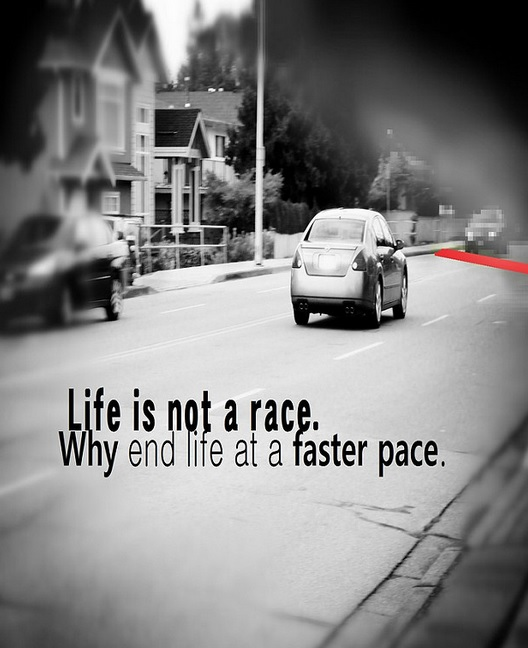 life is not a race slow down