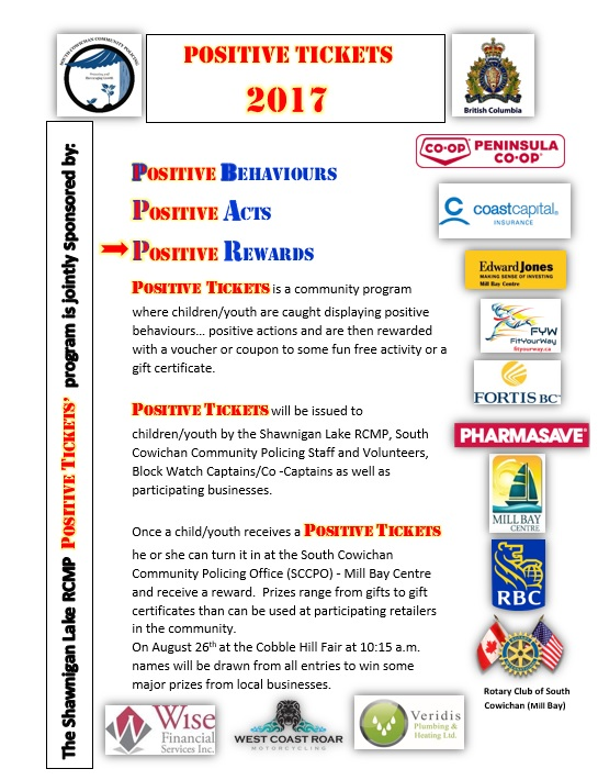Positive Tickets Sponsors RCMP Children Youth Behaviour