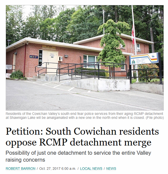 Save Shawnigan Lake RCMP Detachment from Merge